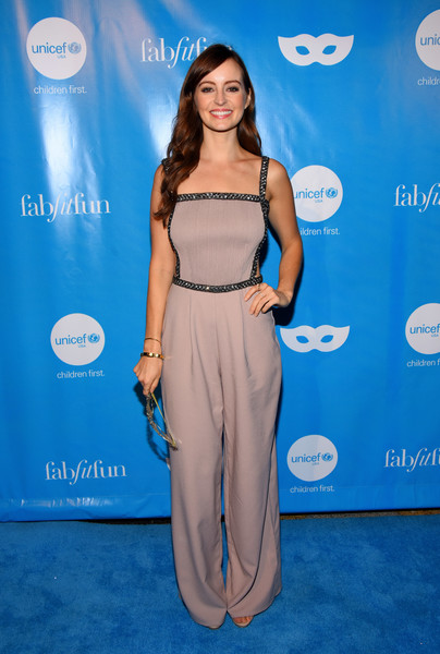 Ahna O'Reilly chose a nude cutout jumpsuit with sparkly trim for the UNICEF Next Generation Masquerade Ball.