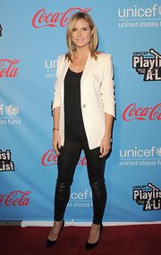 Heidi Klum wore this white blazer with leather leggings at the UNICEF event.