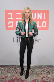 Katherine McNamara attended the Uniqlo 2019 collections celebration wearing a stylish printed bomber jacket.