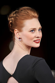 Deborah Ann Woll wore her hair in an elegant braided updo at the Italian premiere of 'Un Giorno Questo Dolore Ti Sara Utile.'