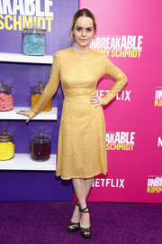 Taryn Manning looked sunshiny in a long-sleeve yellow sequin dress at the 'Unbreakable Kimmy Schmidt' season 2 world premiere.
