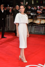 Angelina Jolie decided on understated nude pumps at the UK premiere of 'Unbroken.'