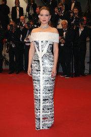 Lea Seydoux looked perfectly polished in a monochrome off-the-shoulder column dress by Louis Vuitton at the Cannes Film Festival screening of 'Under the Silver Lake.'