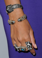 Singer Leona Lewis walked the red carpet at the EIF's Women's Cancer Research Fund benefit wearing two sterling silver spike rings.