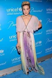 Mia looked artistically ethereal in this pleated print gown at the UNICEF Snowflake Ball.