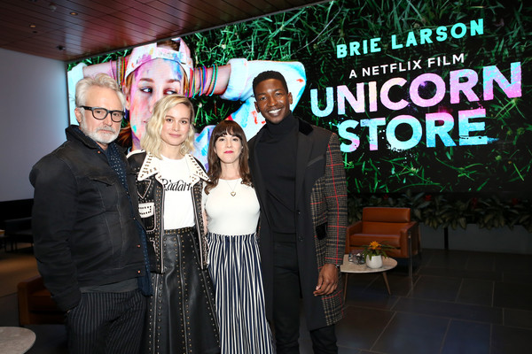 More Pics of Brie Larson Leather Jacket (1 of 3) - Outerwear Lookbook - StyleBistro [event,formal wear,ceremony,q a,screening,l-r,unicorn store,california,los angeles,mamoudou athie,martha macisaac,brie larson,bradley whitford]