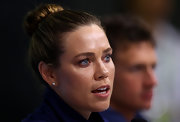 Natalie Coughlin attended the US Team press con with her hair tightly tied in a classic bun.