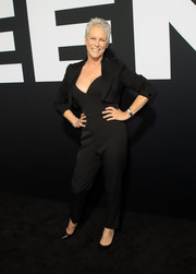 Jamie Lee Curtis looked ageless in a black sweetheart-neckline jumpsuit at the premiere of 'Halloween.'