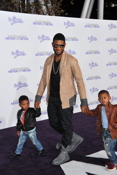 Usher Bomber Jacket [justin bieber: never say never,red carpet,fashion,carpet,event,fashion design,performance,style,fashion show,usher,kids,c,nokia theater l.a. live,los angeles,paramount pictures,premiere,premiere]