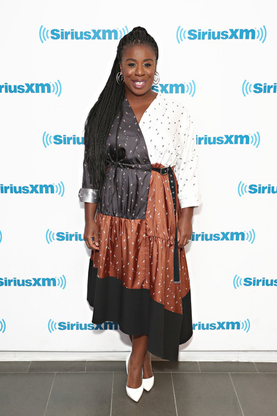 Uzo Aduba Pumps [orange is the new black,clothing,fashion,hairstyle,fashion design,brown,footwear,outerwear,long hair,dress,shoe,cast,uzo aduba,new york city,studios,siriusxm studios]
