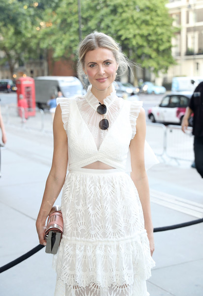 More Pics of Donna Air Cutout Dress (1 of 2) - Dresses & Skirts Lookbook - StyleBistro [white,clothing,street fashion,photograph,fashion,shoulder,dress,lady,beauty,snapshot,arrivals,donna air,london,england,v a,summer party,summer party]