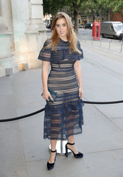 Princess Beatrice went a bit daring in a sheer navy Self-Portrait dress with a nude underlay at the V&A summer party.