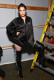 Jessie J sported an oversized black bomber jacket sans pants at the VFiles fashion show.