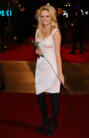 Emily Atack pulled her hair up and away from her face for the premiere of Valentine's Day.