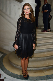 Princess Madeleine wore a pair of trendy T-strapped sandals as she arrived to watch the Valentino show.