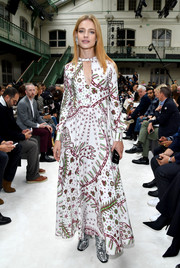 Natalia Vodianova was a boho babe in a printed maxi dress by Valentino during the brand's Spring 2018 show.