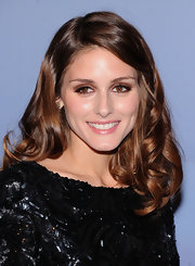 Olivia Palermo created a smoky-eyed look using rich brown shadow for the Valentino Garavani Virtual Museum Launch Party.