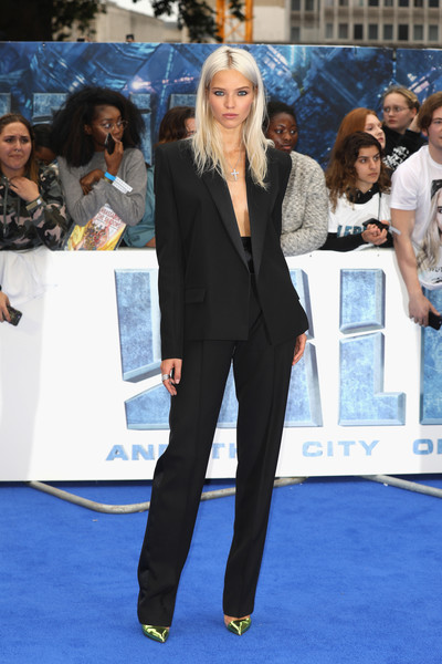 Sasha Luss managed to look oh-so-sultry in a suit at the European premiere of 'Valerian and the City of a Thousand Planets.'