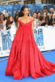 Rihanna was a vision in a voluminous red empire gown by Giambattista Valli Couture at the European premiere of 'Valerian and the City of a Thousand Planets.'