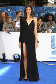 Pauline Hoarau looked fashion-forward in an asymmetrical black tuxedo gown by Mugler at the European premiere of 'Valerian and the City of a Thousand Planets.'