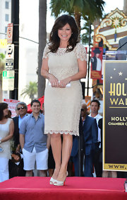 Valerie Bertinelli looked adorable in a white lace cocktail dress at an event in her honor on the Hollywood Walk of Fame.