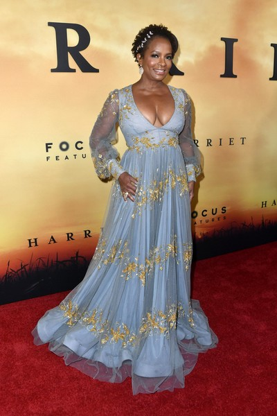 Vanessa Bell Calloway Empire Gown [red carpet,clothing,carpet,gown,dress,flooring,formal wear,hairstyle,lady,premiere,arrivals,harriet,vanessa bell calloway,california,los angeles,the orpheum theatre,focus features,premiere,premiere]