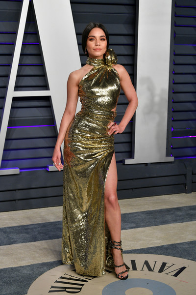 Vanessa Hudgens Strappy Sandals [oscar party,vanity fair,fashion model,fashion,clothing,shoulder,dress,fashion show,beauty,haute couture,model,yellow,beverly hills,california,wallis annenberg center for the performing arts,radhika jones - arrivals,radhika jones,vanessa hudgens]