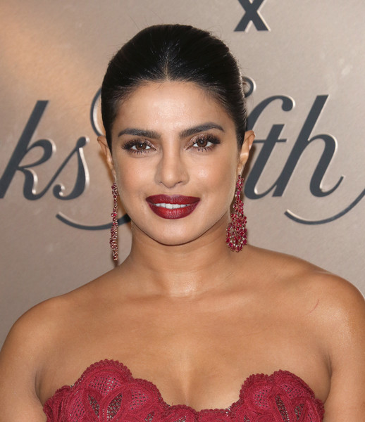 More Pics of Priyanka Chopra-Jonas Gemstone Chandelier Earrings (3 of 6) - Chandelier Earrings Lookbook - StyleBistro [hair,lip,face,eyebrow,beauty,skin,hairstyle,chin,forehead,eyelash,priyanka chopra jonas,list,new york city,lavenue,vanity fair]