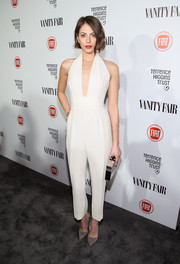 Willa Holland looked effortlessly chic in a deep-V white jumpsuit by Gucci at the Fiat Young Hollywood celebration.