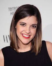 Catherine Valdes attended the Fiat Young Hollywood celebration sporting a simple mid-length bob.