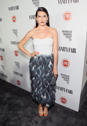 Karla Souza opted for a strapless dress with a frothy layered skirt when she attended the Fiat Young Hollywood celebration.