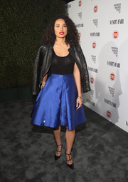 Jurnee Smollett-Bell added a dash of edge with a black leather jacket.