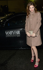 Anna Kendrick arrived for the Vanity Fair Campaign Hollywood wearing a stylish tan wool coat.