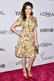 Anna Kendrick flawlessly paired her dress with elegant red platform sandals by Brian Atwood.