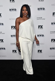 Angela Bassett looked super sophisticated in a white one-shoulder jumpsuit by Halston Heritage at the Vanity Fair and FX Emmy nominations party.