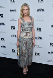 Kirsten Dunst looked summer-cool in a sleeveless print dress by Michael van der Ham at the Vanity Fair and FX Emmy nominations party.