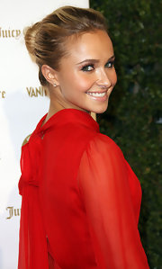 Hayden Panettiere attended the 'Vanity Fair' and Juicy Couture 20th Anniversary Party wearing her hair pulled back into a chic classic bun.