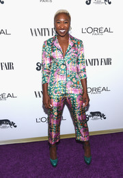 Cynthia Erivo added an extra splash of color with a pair of green snakeskin platform pumps.