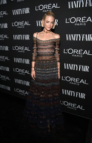 Jaime King was a boho beauty in an off-the-shoulder maxi dress by Dior at the Vanity Fair New Hollywood celebration.