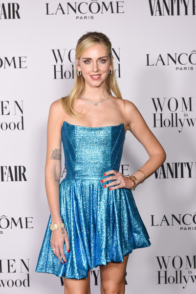 Chiara Ferragni's red nail polish made a lovely contrast to her metallic blue dress at the Women in Hollywood celebration.