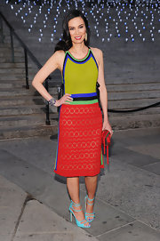 Wendi Deng attended the 2012 Tribeca Film Fest in a bright-hued outfit including a pair of turquoise patent leather sandals.