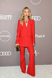 Rachel Zoe sported a red bell-bottom pantsuit at the 2019 Variety Power of Women: Los Angeles.