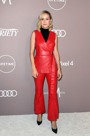 Brie Larson looked cool in a sleeveless red pantsuit by Rosetta Getty at the 2019 Variety Power of Women: Los Angeles.
