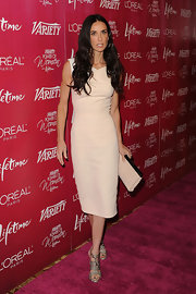 At the 'Variety' bash in Beverly Hills, Demi Moore paired her blush sheath dress with sexy snakeskin sandals.