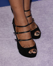 Shaun Robinson's strappy black platform peep-toes at the Variety Power of Women event were a perfect blend of edgy and elegant.