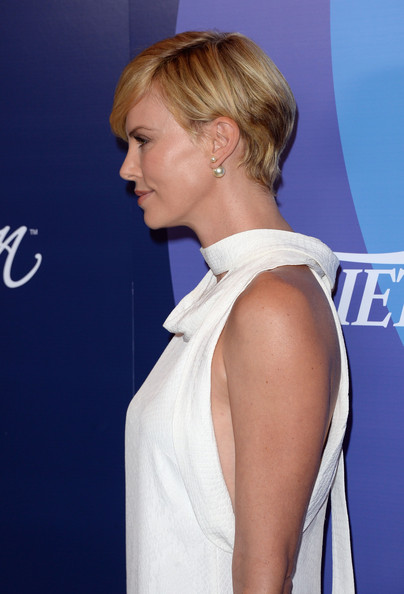 More Pics of Charlize Theron Side Parted Straight Cut (1 of 25) - Side Parted Straight Cut Lookbook - StyleBistro