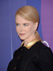 Nicole Kidman was neatly coiffed with a sleek side-parted ponytail when she attended the Variety Power of Women event.
