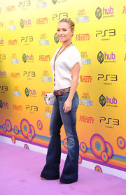 Hayden Panettiere wore a sleek pair of faded bell bottoms for the Power of Youth event.