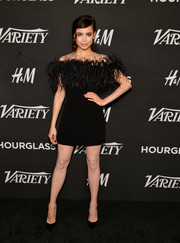 Sofia Carson was impossible to miss at Variety's Power of Young Hollywood event in this Monique Lhuillier LBD that featured a feathered yoke and an illusion neckline.