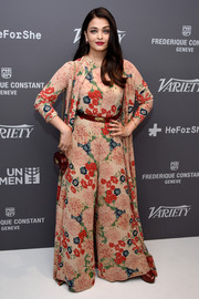 Aishwarya Rai was all abloom in a wide-leg floral jumpsuit and a matching robe at the Variety celebration of UN Women.
